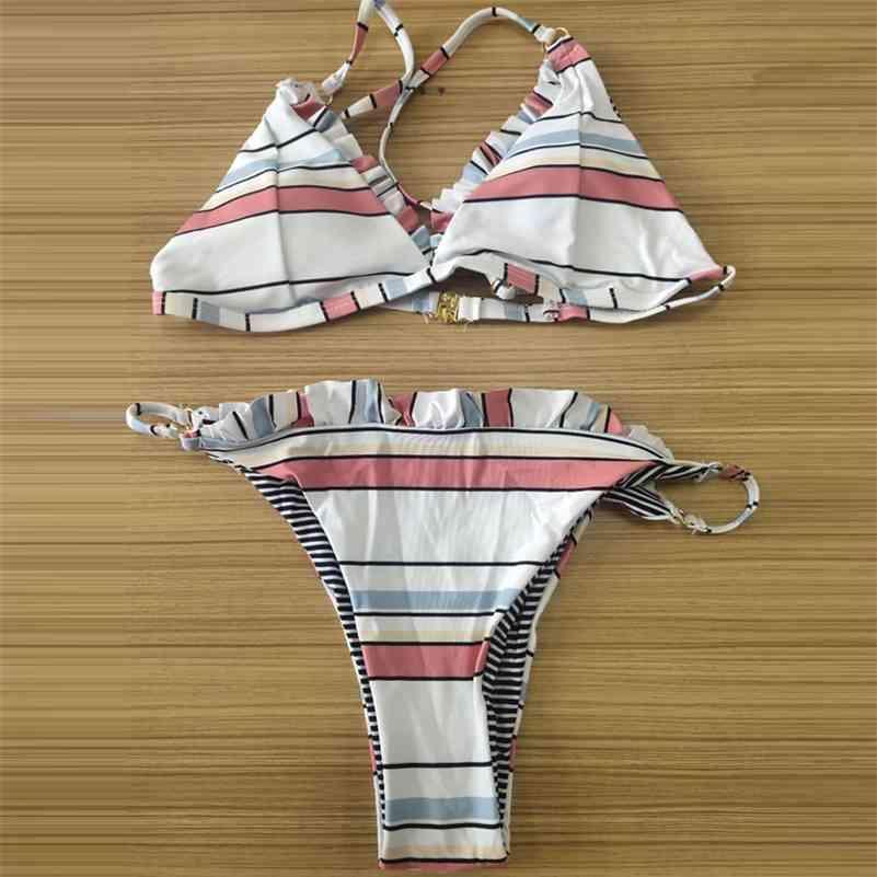 Vigorashely مخطط ملابس النساء مثير كشكش بيكيني ثونغ ملابس السباحة الإناث البرازيلي بيكيني مجموعة المايوه السباحة ملابس السباحة 210322