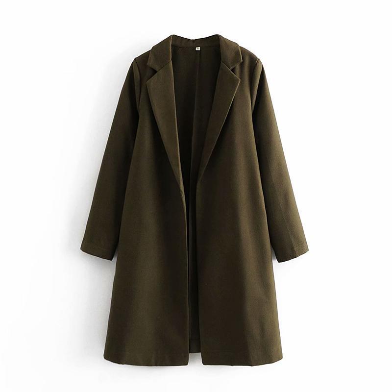 중추 길이 느슨한 얇은 옷깃 모직 코트 자켓 여성 양모 블렌드