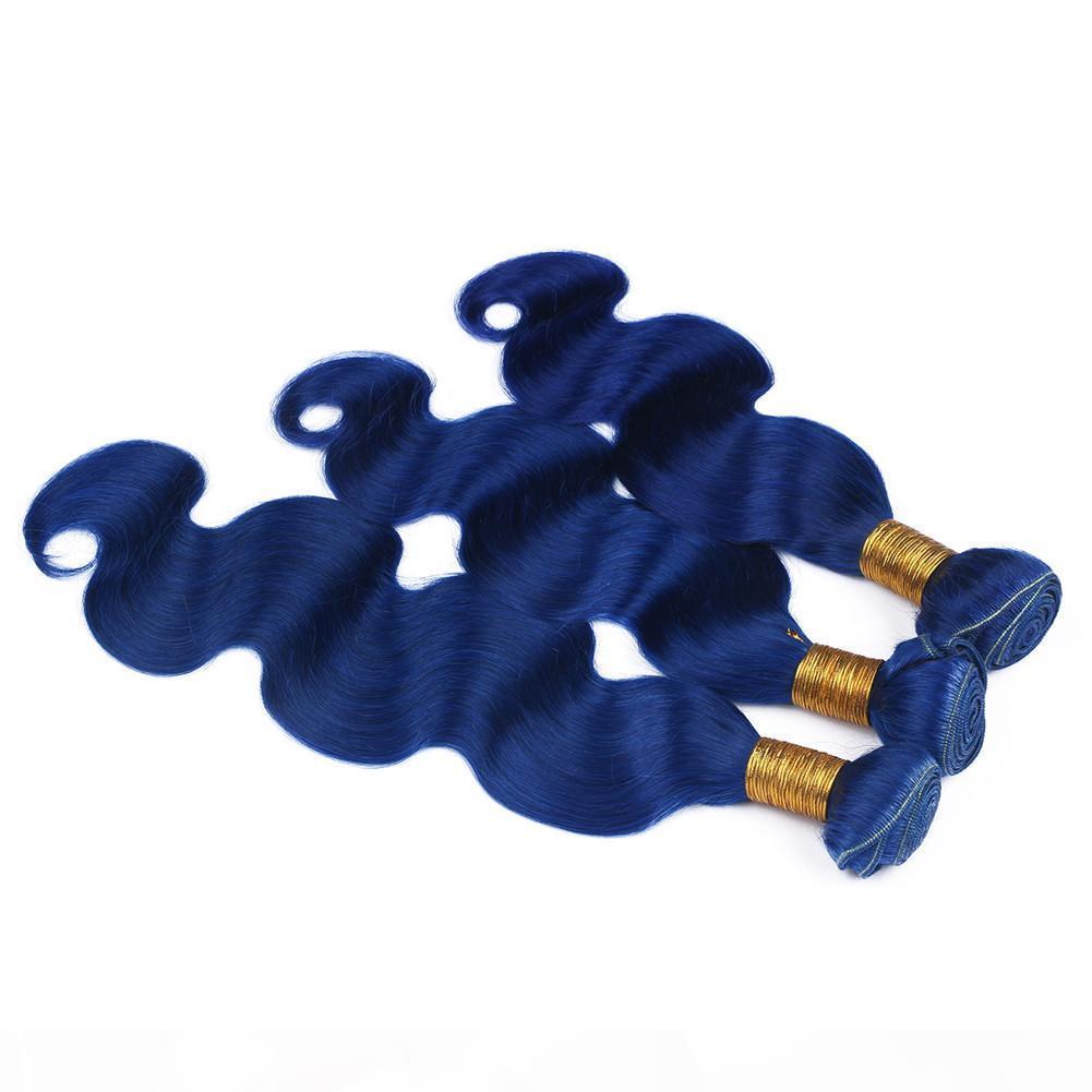 """브라질 버진 인간의 머리카락 블루 컬러 바디 웨이브 3 번들 300Gram 바디 물결 모양의 어두운 푸른 푸른 푸른 푸른 머리 위브 확장 이중 위사 10-30 """""""