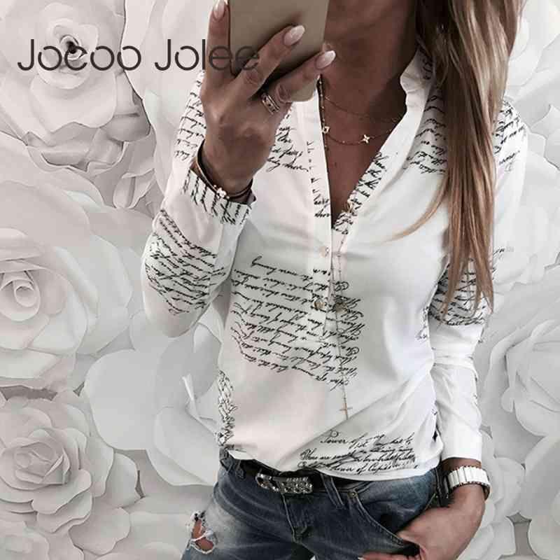 Jocoo jolee women moda v cuello de manga larga sexy playa blusa camisas cartas casuales impresas tops slim fit camisas más tamaño 210326