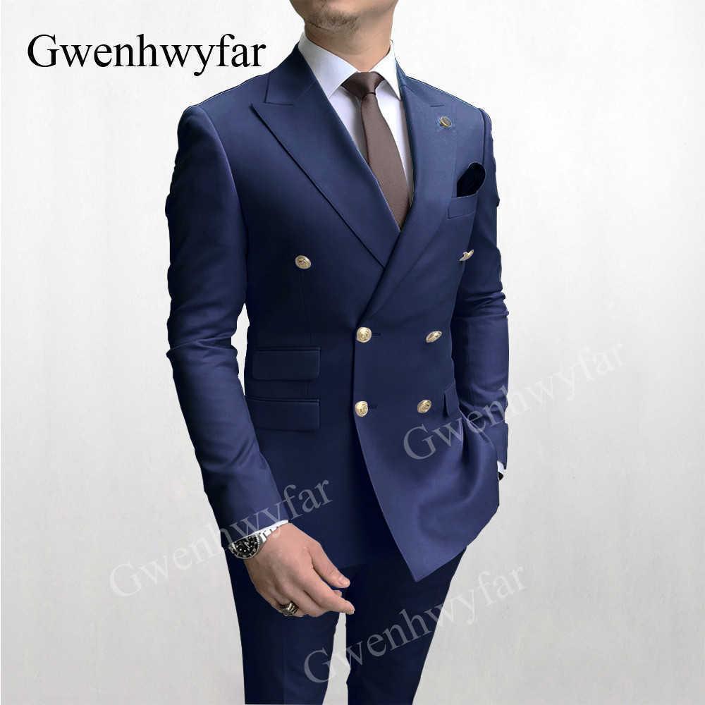 Gwenhwyfar Son Blazer Pantolon Tasarım Altın Düğmeler Erkekler Suits Donanma Kruvaze Damat Düğün Smokin Tepe Yaka Kostüm Homme X0909