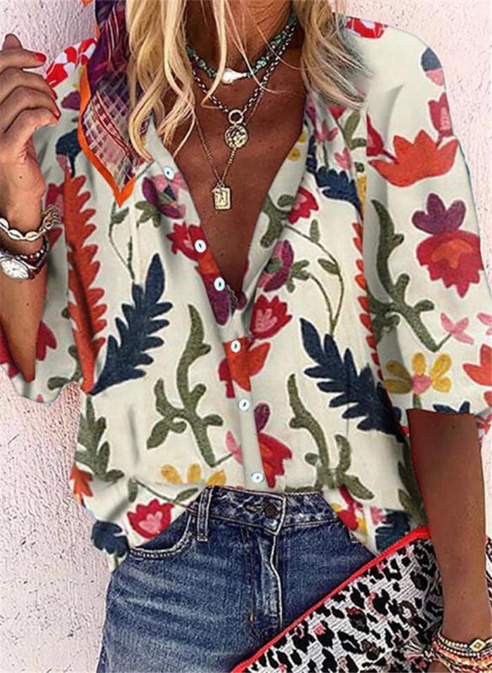 Женщины цветочные свободные рубашки лето половина рукава ослабенков шеи однобортные блузки женская одежда