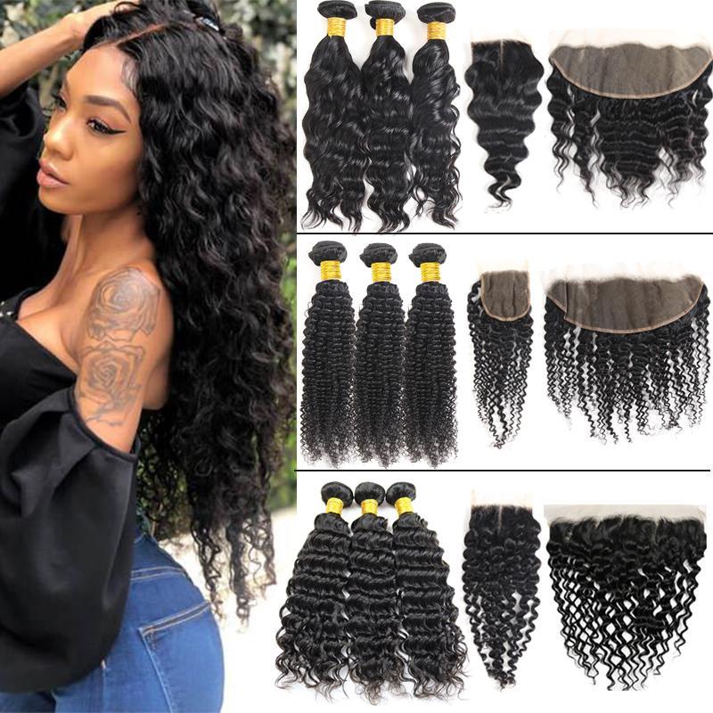 10A 원시 브라질 버진 인간의 머리카락 폐쇄 직선 바디 딥 워터 웨이브 킨키 곱슬 큐티클 흑인 여성을위한 정렬 된 직조 확장 및 정면