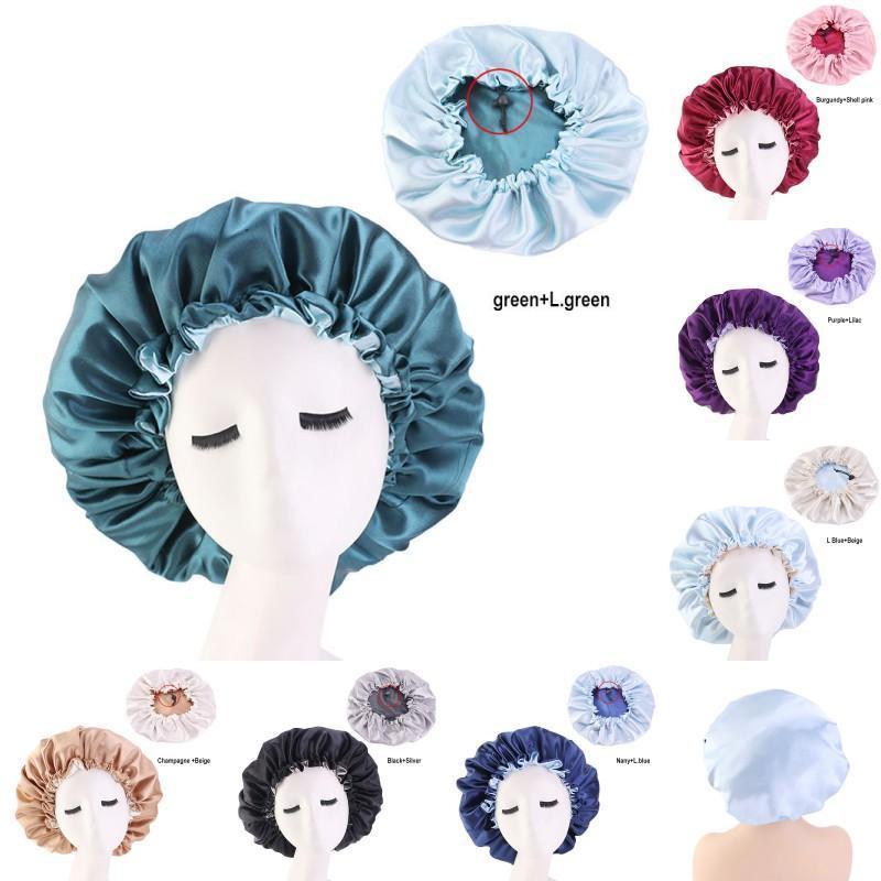 와이드 브레 밍 목욕 모자 일반 컬러 헤어 샤워 캡 보닛 실크 라운드 조정 가능한 버클 장착 모자 새틴 헤드 랩 욕실 제품 여성