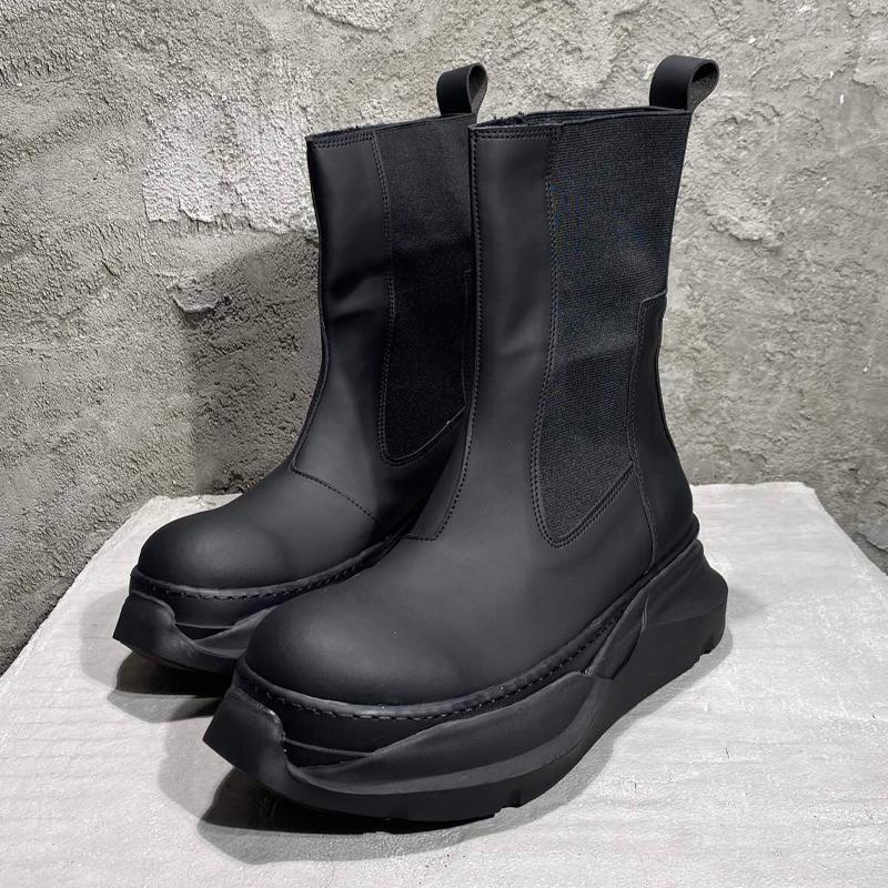 Hombres Cuero Medio Medio Botas Entrenadores Casual Hombre Zapatos Altura Aumento de altas Pisos Top High-Top Sneakers de otoño negro
