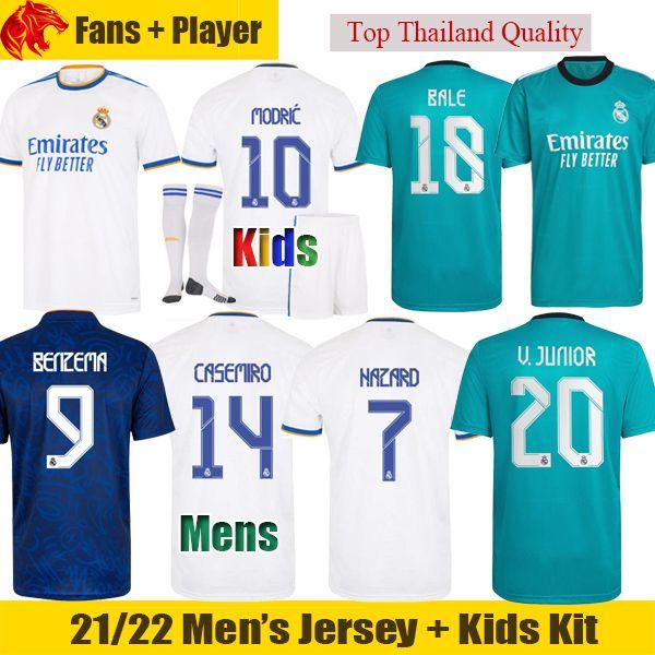 Real Madrid Jerseys BENZEMA 21 22 Fans Player Version BALE MODRIC CASEMIRO Soccer Jersey 2021 2022 KROOS HAZARD VINICIUS Football Shirt RODRYGO Men + kids kit