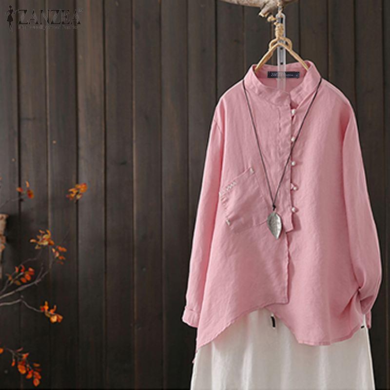 Kadın Bluzlar Gömlek Zanzea Düzensiz Bluz 2021 Rahat Uzun Kollu Keten Kadın Düğme Aşağı Tunik Katı Blusas 5XL Artı Boyutu Tops