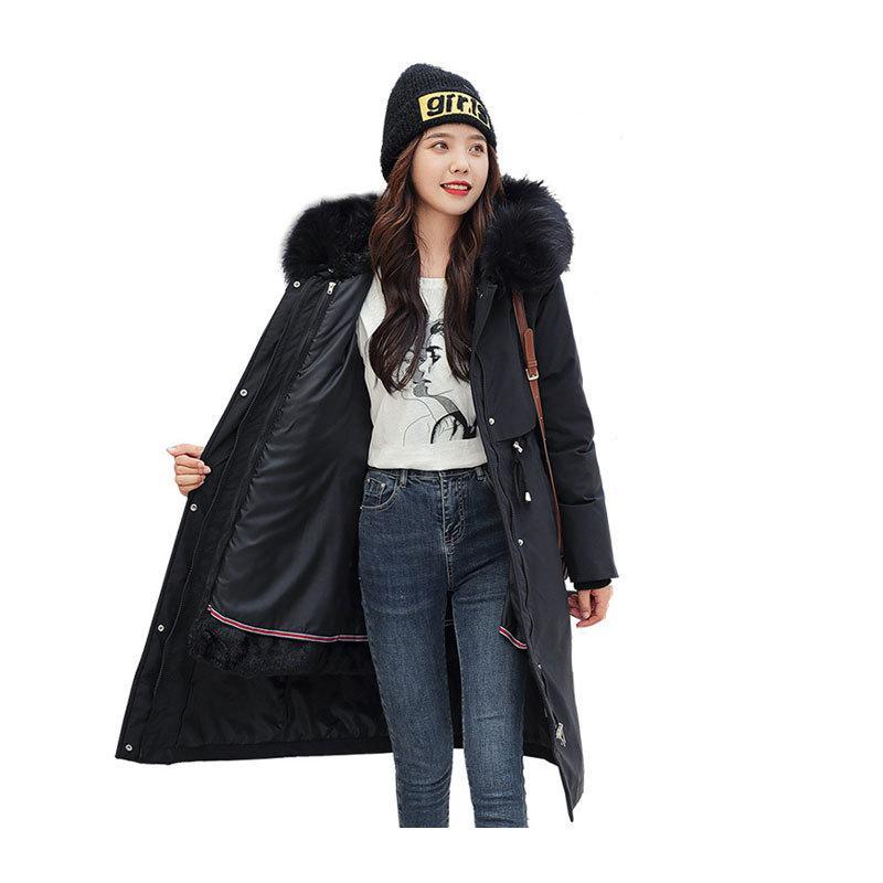 Mujeres X-Long Long Winter Big Bolsillo con capucha con capucha con chorro ajustado de viento con Bonk Crow Chaqueta recubierta de gato de gran tamaño