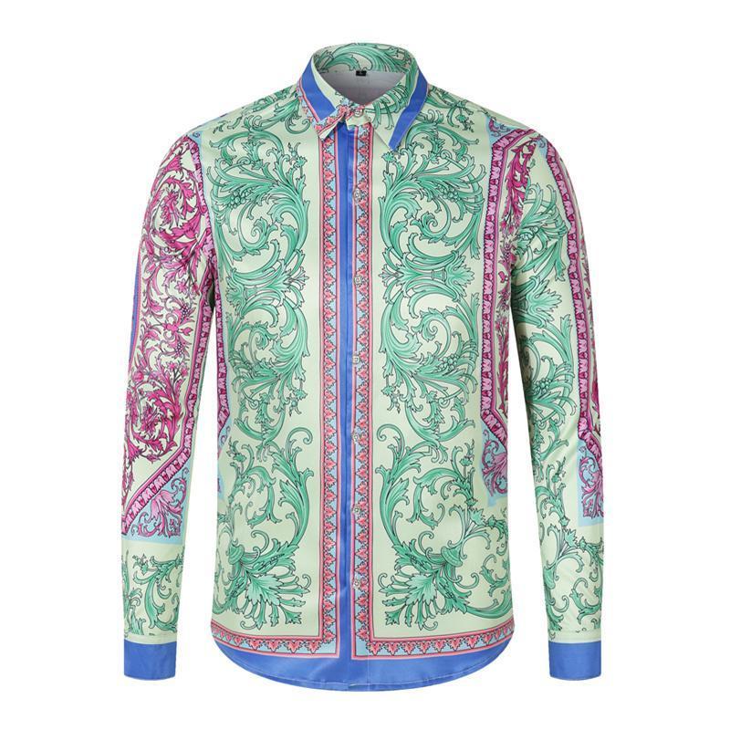 긴 남자 멋진 셔츠 슬리브 인쇄 기하학적 창조적 인 스타일 남성 여성 버튼 셔츠 슬림 캐주얼 맞는 chemise 데이트 여행 남자