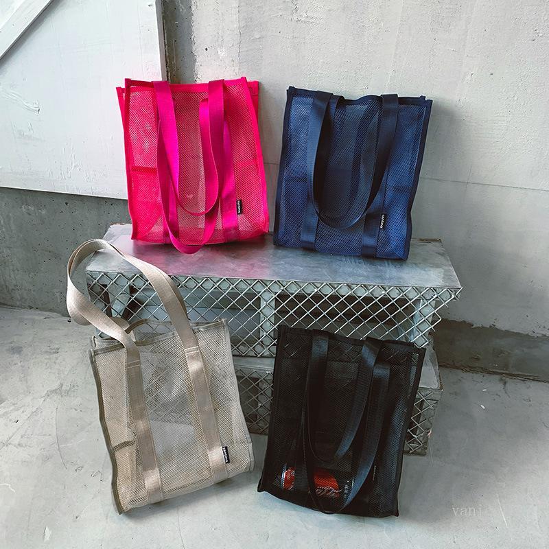 Saco de compras de supermercado dobrável Light Proteção Ambiental Saco Mulheres Bolsa Mulheres Sub Grande Capacidade Compras Malha Saco T500505