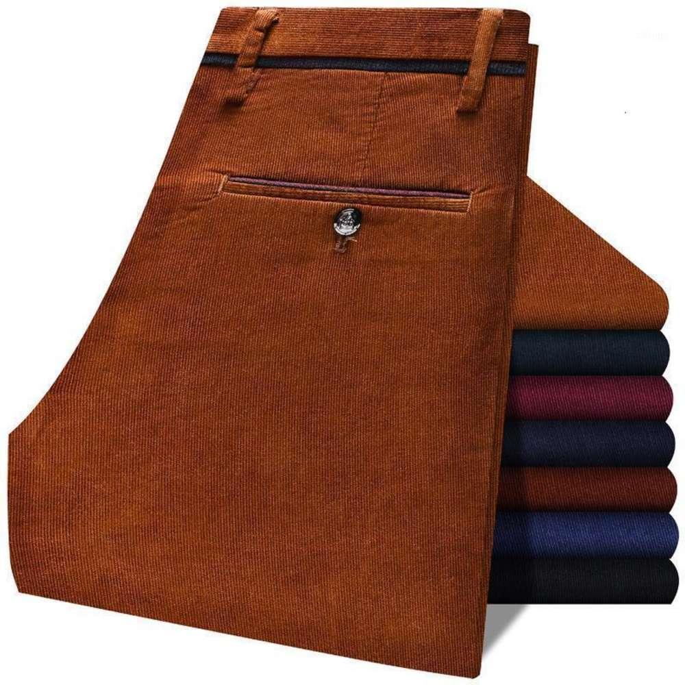 Otoño Invierno Hombres Corduroy Grueso Cálido Pantalones casuales Classic Business Stretch Slim Pantalones de alta calidad Brown Borgoña Navy1