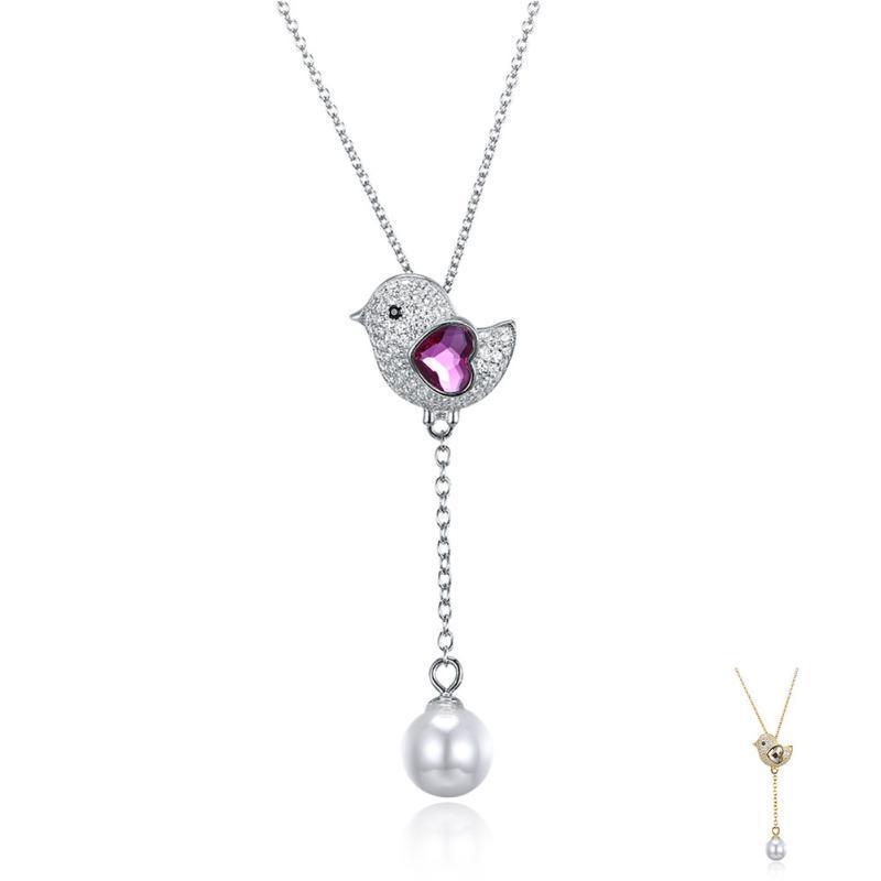 Oiseau mignon 925 sterling argent coeur autriche cristal pendentif collier coquille perle double arrivées bijoux chaînes