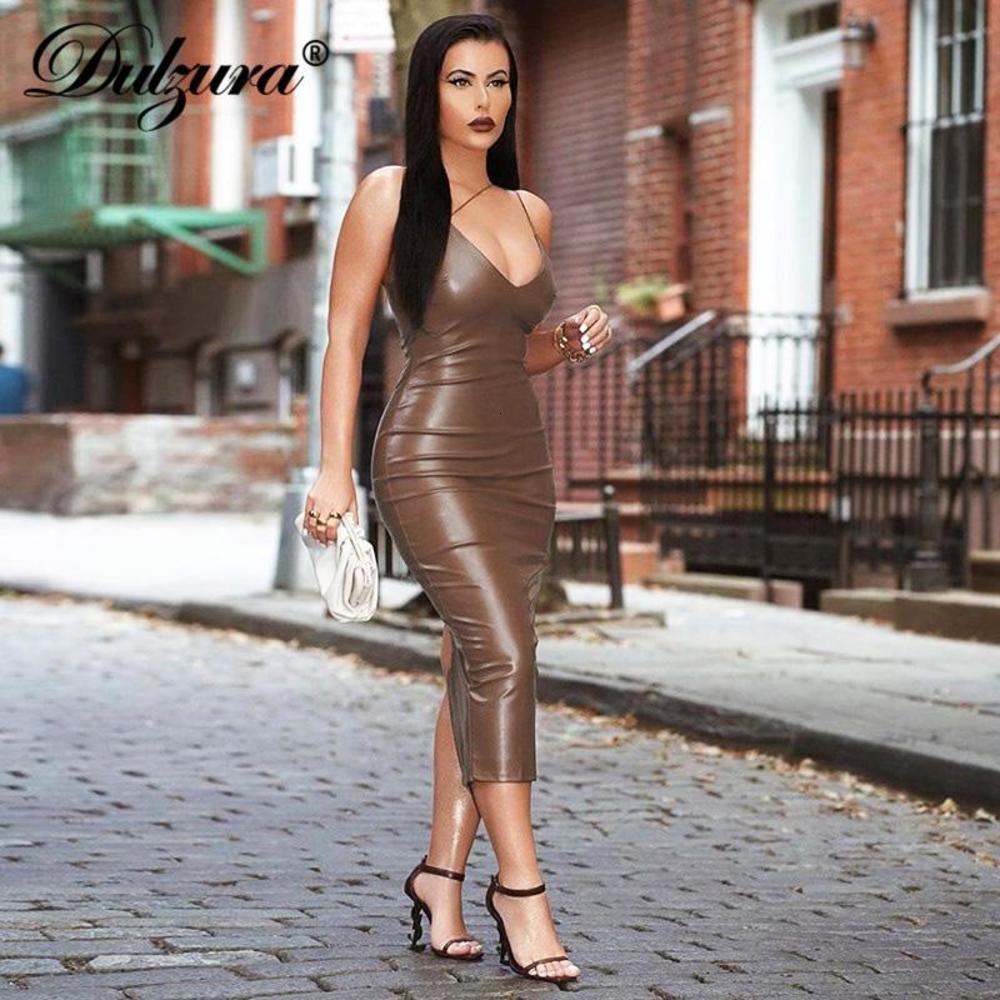Dulzura PU Faux Cuero Mujer Slit Midi Dress Strap Strap V Backless Bodycon Sexy Streetwear Partido Elegante Otoño Invierno Club