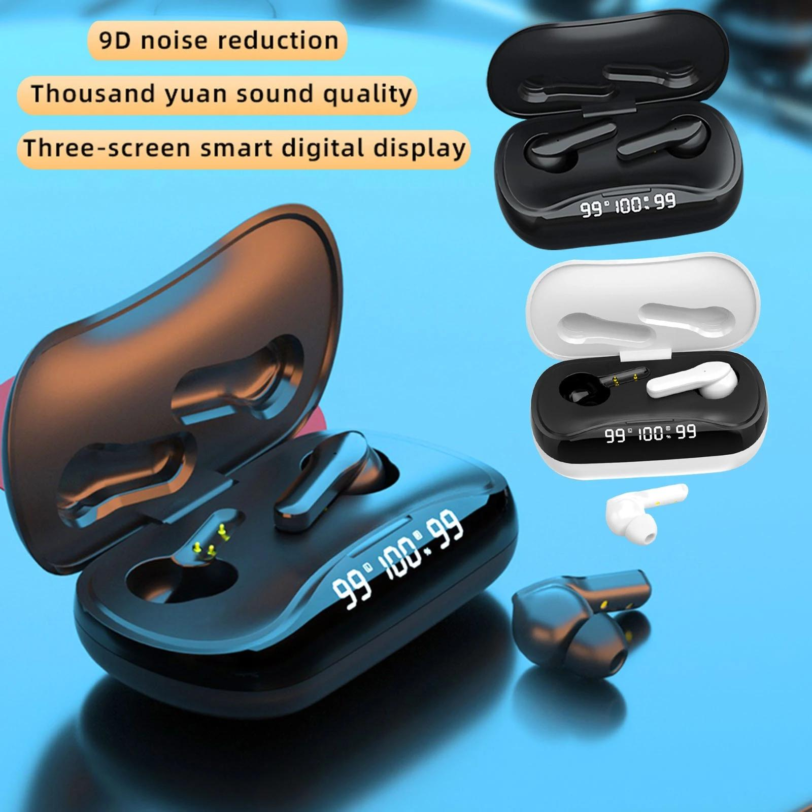TWS-210 9D HIFI Bluetooth TWS Наушники Наушники для наушников Уоделительные телефоны Светодиодный дисплей Беспроводные наушники с зарядной коробкой с микрофоном