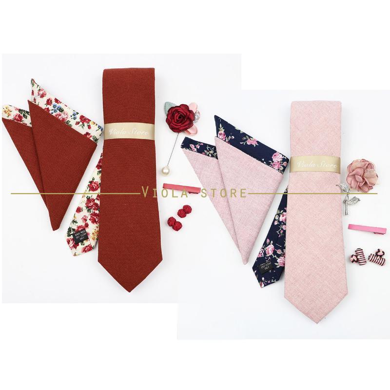 Luxury Cotton Double-Side 7cm Tie Set Brooch Pin Clip Hankie Cufflinks Men Wedding Party Floral Cravat Gift Accessory Bow Ties