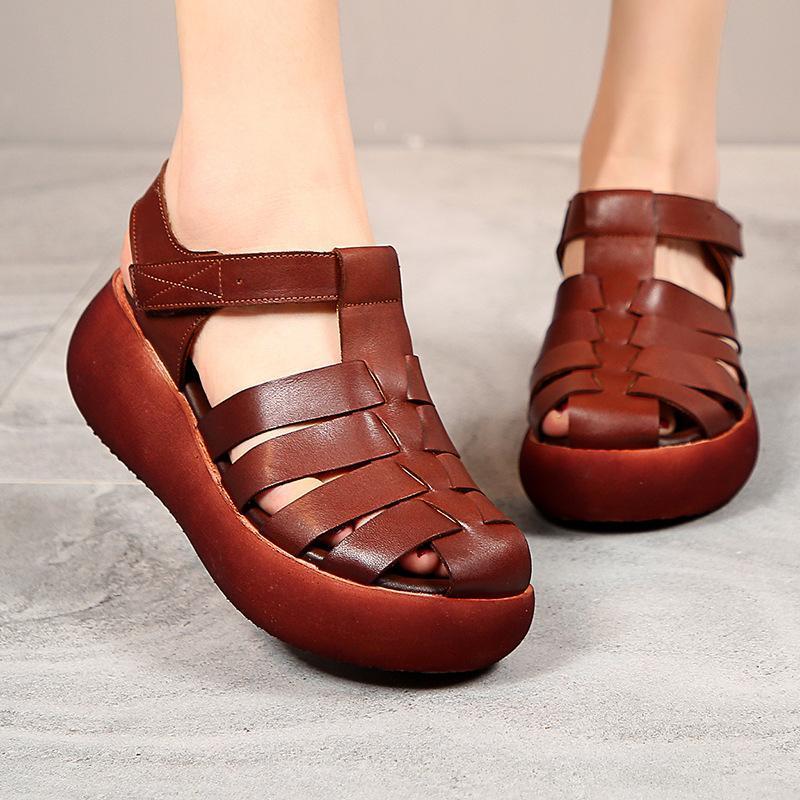 Sandals Women Full-grain Leather Retro Casual Summer Shoes Fashion Handmade Platform Size 35-40