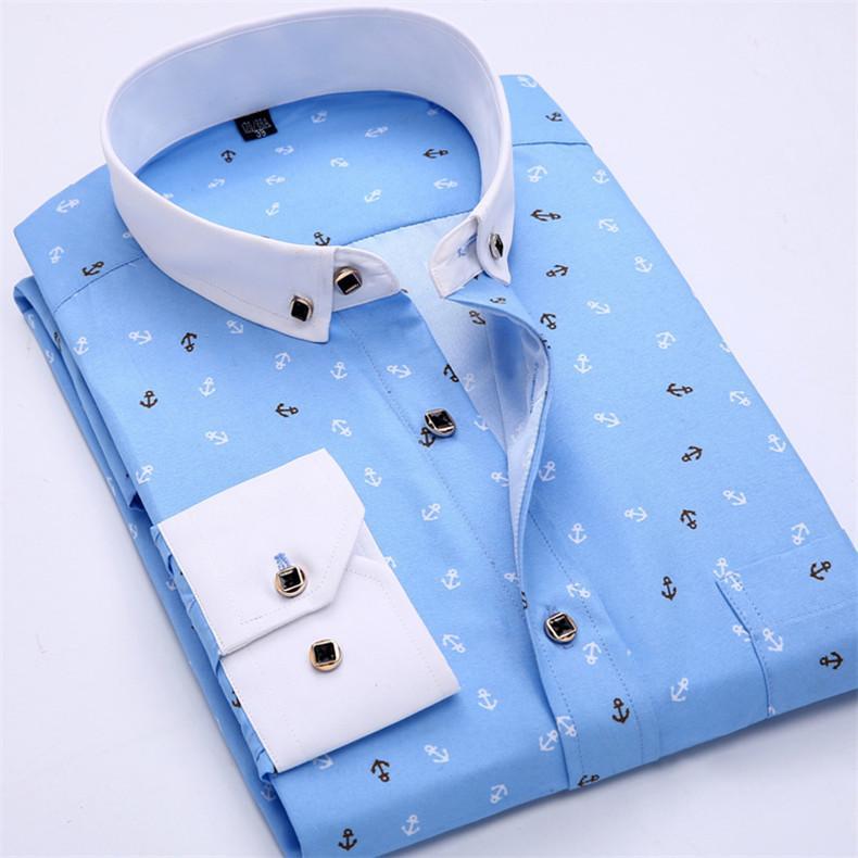 Patchwork Collar floral men's casual shirt Fashion long sleeve Print slim fit soft pocket 4xl male dress
