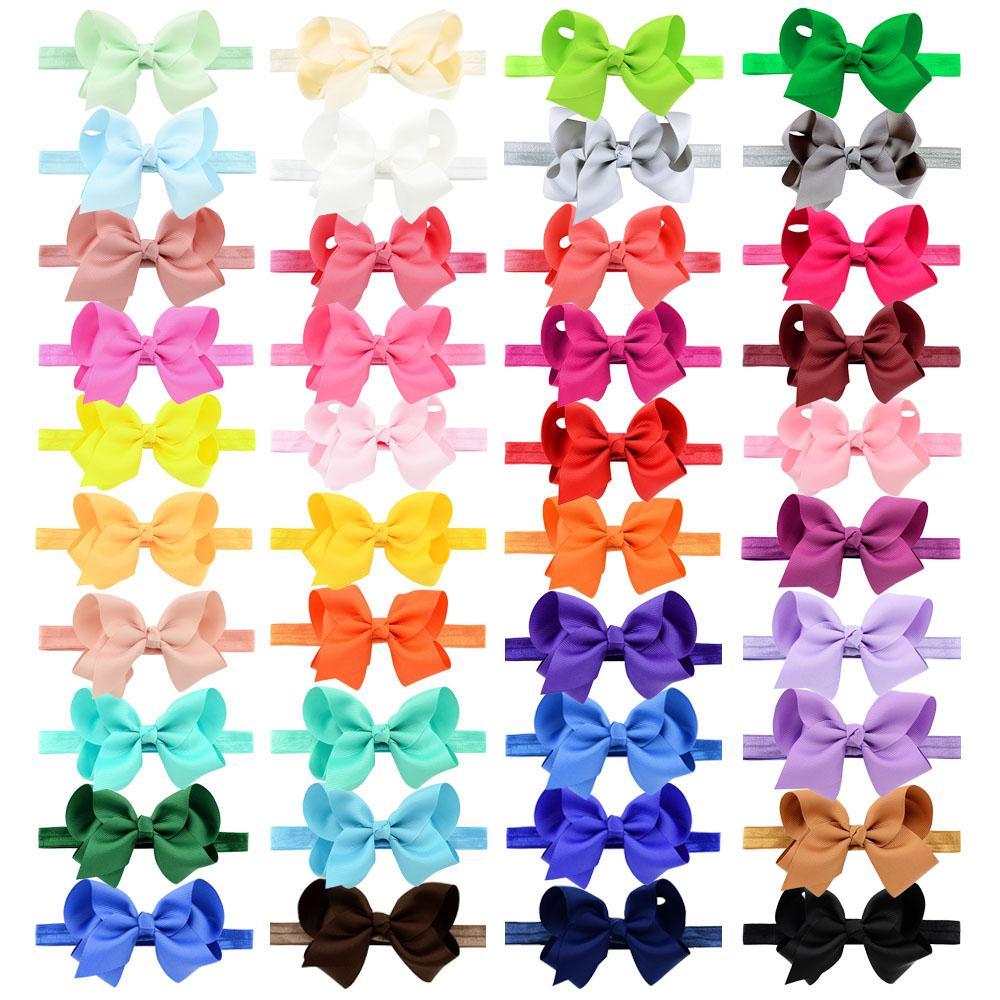 Girls Bowknot Headband Bows 10.5cm Grosgrain Ribbon Bow Elastic Headbands Hair Bands DIY Hair Accessories