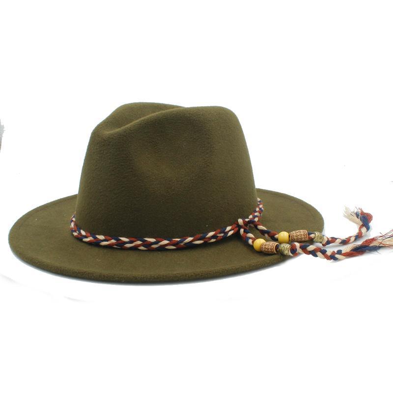양모 여성 남성 신사를위한 Fedora 모자 우아한 숙녀 겨울 가을 넓은 자즈 재즈 대부 모자 크기 56-58cm