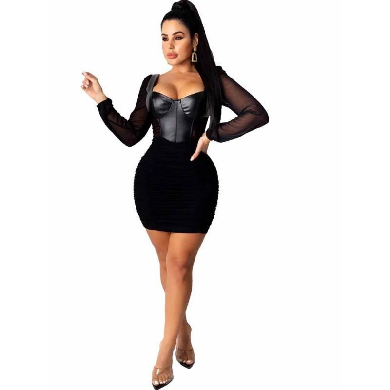 Abiti in pelle PU a vita alta Donne Donne Manica Piegata Pieghettata Mini Abito corto Autunno Autunno Moda Sexy Mesh Split Streetwear Vestido Casual