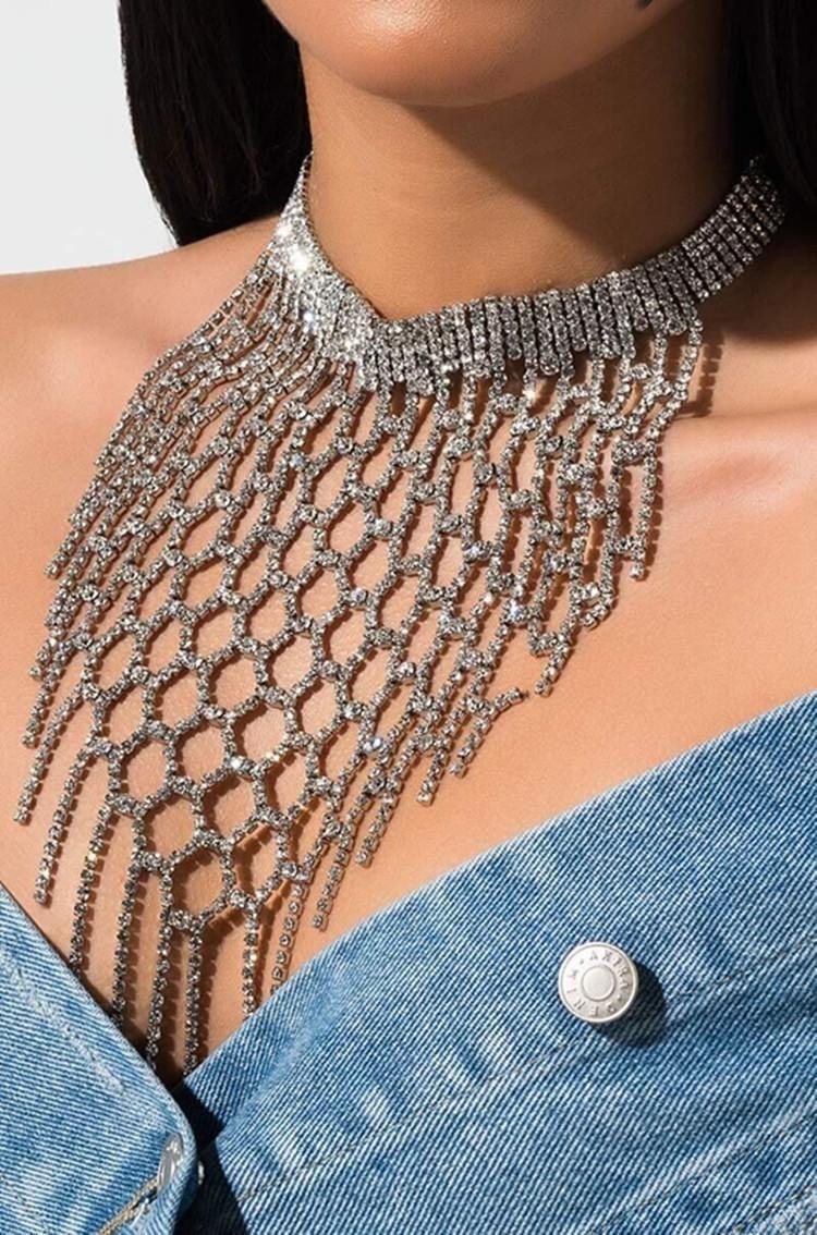 Luxe Lattic Creux Collier Fringe Crukers pour femmes Silver strass Tassel Bijoux Tassel Fête Dames Party