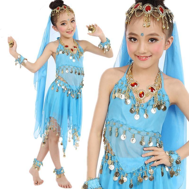 Mädchen Bollywood Bauchtanz Kostüme Kinder orientalisch Indien Sari Kinder Chiffon Bühnenaufführung Anzug