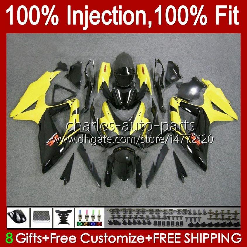 Injectievorm voor Suzuki GSXR600 K8 GSX-R750 GSXR-600 GSXR-750 GSXR750 Carrosserie 9HC.47 Geel Glossy GSX-R600 2008 2009 2010 GSXR 600 750 CC 600CC 750CC 08 09 10 Kuip