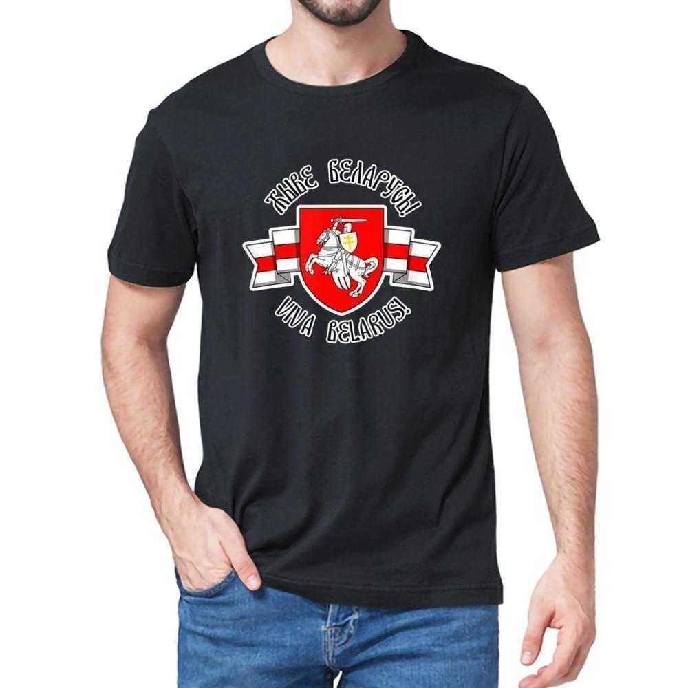 Biélorussie Pogonya Blanc Rouge Blanc Drapeau Blanc Symbole Symbole Hommes à manches courtes T-shirt T-shirt Coton Cadeau Top Tee-shirt Tee Unisexe 210301