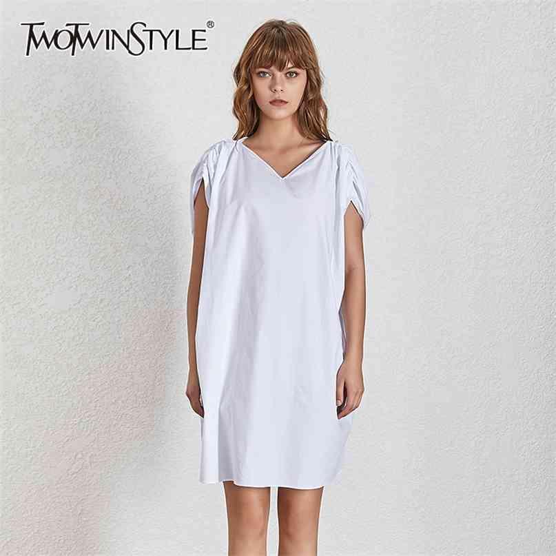Vestido fraco branco para o pescoço v neck sem mangas vestidos sólidos casuais estilo elegante estilo verão 210520