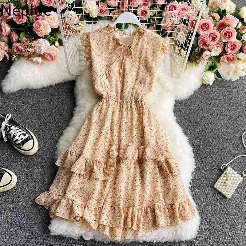 Kadın Elbise Çiçek Ruffles Şifon Robe Kore Yaz Kolsuz Yüksek Bel Vestidos O Boyun Ince Wais İnce Elbiseler 210422