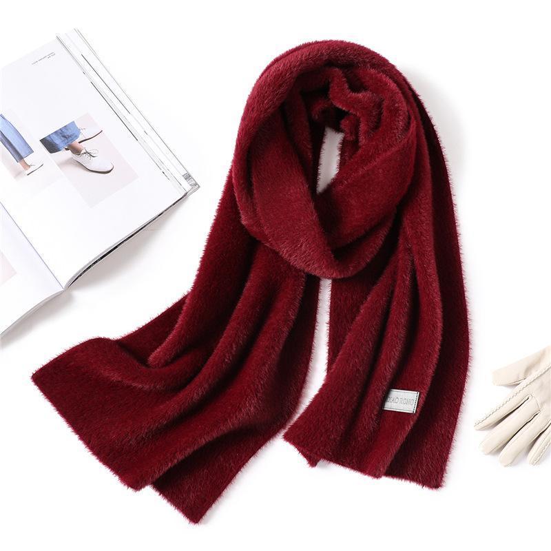 Sombreros, Bufandas Guantes Conjuntos 2021 Diseñador Invierno Schal Mode Solide Dickes Lange Größe Faux Pelz Frauen Schals Cálido Cuello Ringe