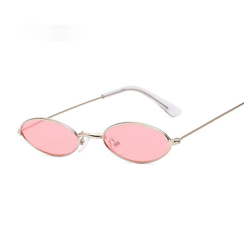 Piccolo telaio Black Shades Round Sunglasses Donne Donne Oval Brand Designer Vintage moda rosa occhiali da sole