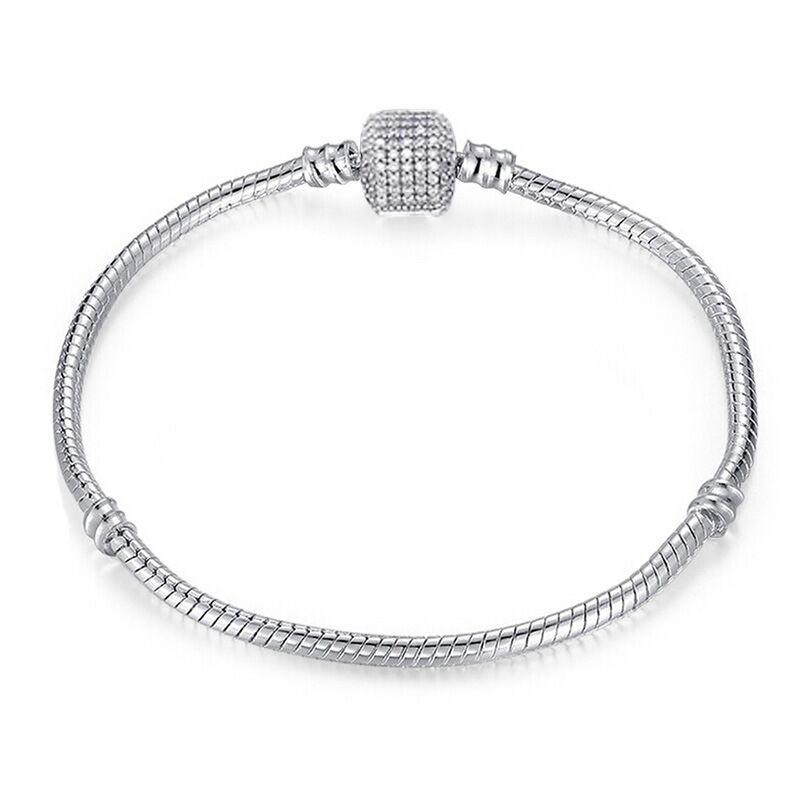 Drop Shipping Silver Plated Bracelets Snake Chain Fit Charm Beads for Pandora Bangle Bracelet Women Children Gif