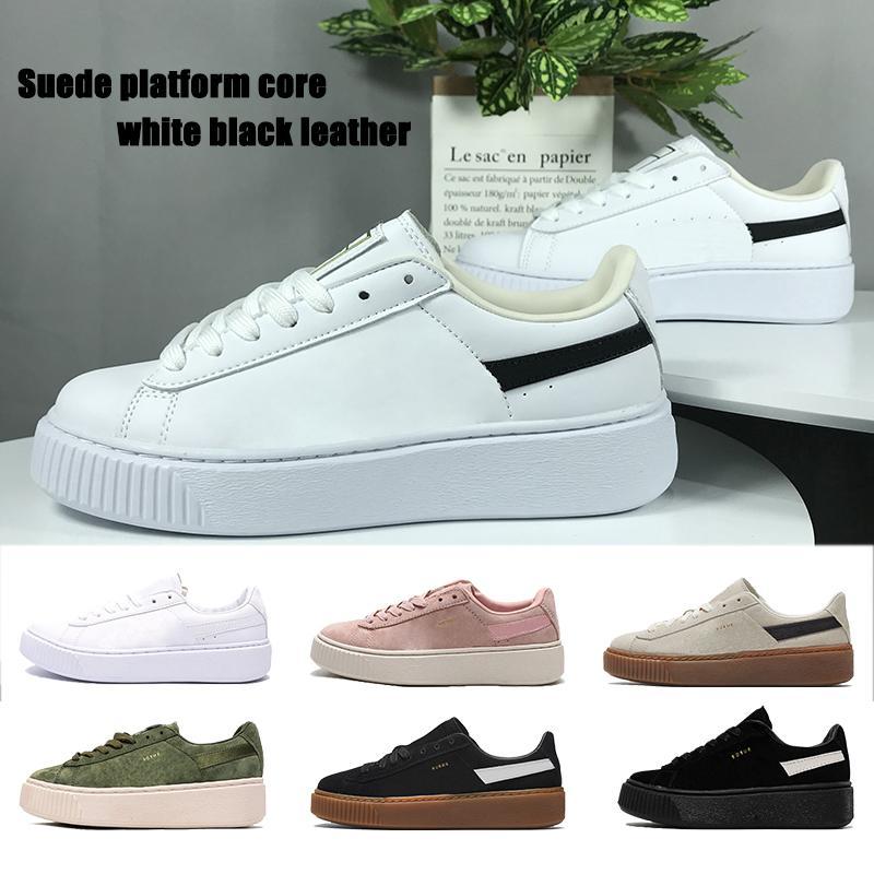 2021 Sude Plateforme Core Hommes Femmes Running Shoes Chaussures Blanc Blanc En Cuir Noir Particule Rose Olive Gris pâle Mens Baskets Formateurs US 4-11