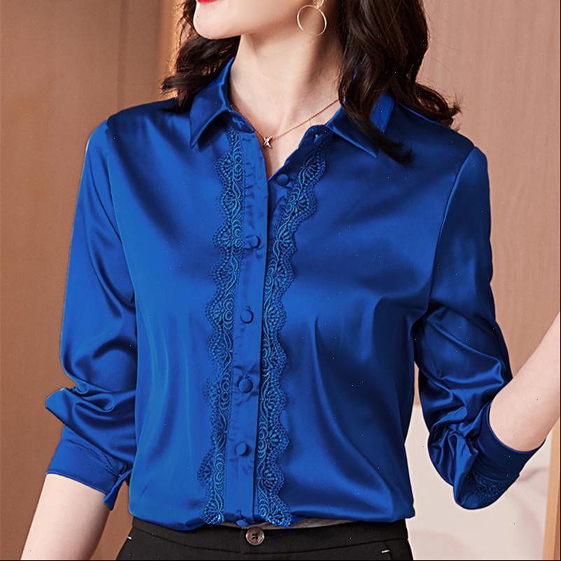 Koreanische Frauenhemden Seide Frauen Satin Blusen Elegante Büro Dame Langarm Spitze Hemd Plus Größe Blusas Mujer de Moda