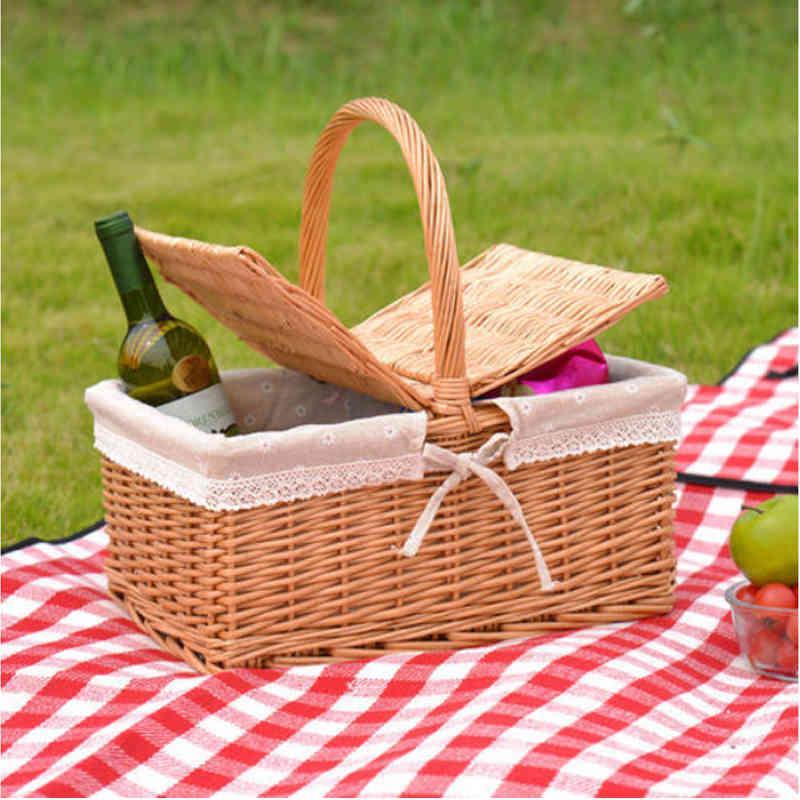 Tejido mimbre picnic camping almacenamiento cesta pan fruta comida desayuno caja de visualización de flores cocina orginazer decoración del hogar