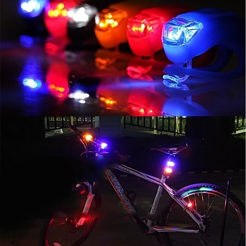 50 قطعة / الوحدة ماء سيليكون ضوء 4 ألوان أدى دراجة ضوء الرأس الجبهة الخلفي عجلة دراجة ضوء الدراجات تحذير Taillamp 201029