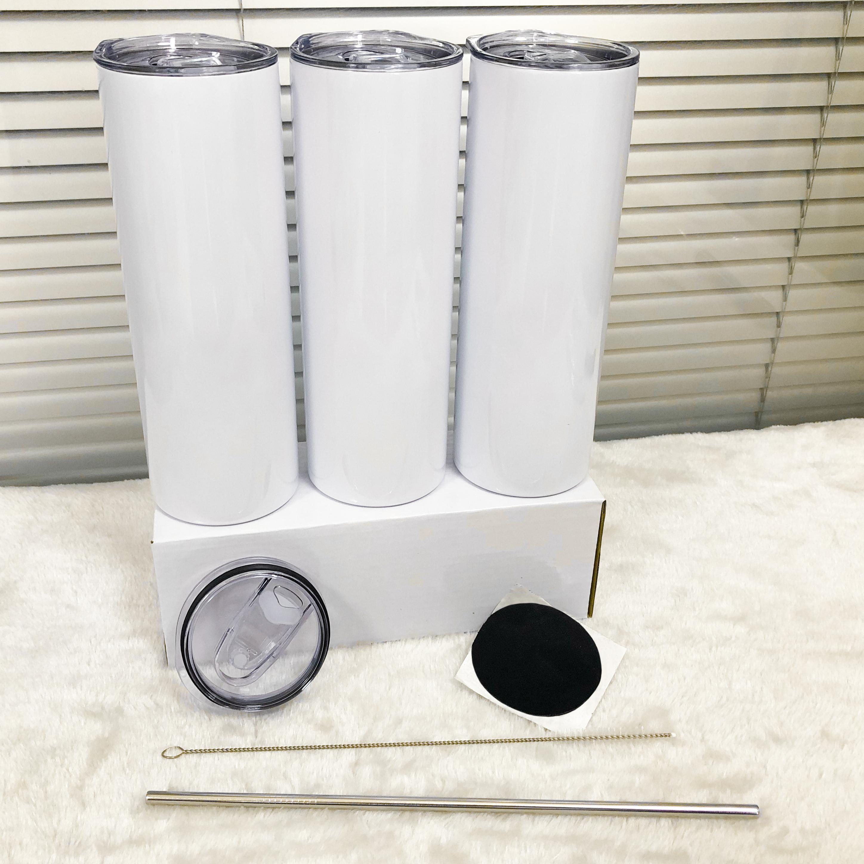 Tazze di bicchieri di tumelle di sublimazione da 20 once con coperchio di paglia Bottiglie d'acqua in acciaio inox drinkware doppie tazze isolate