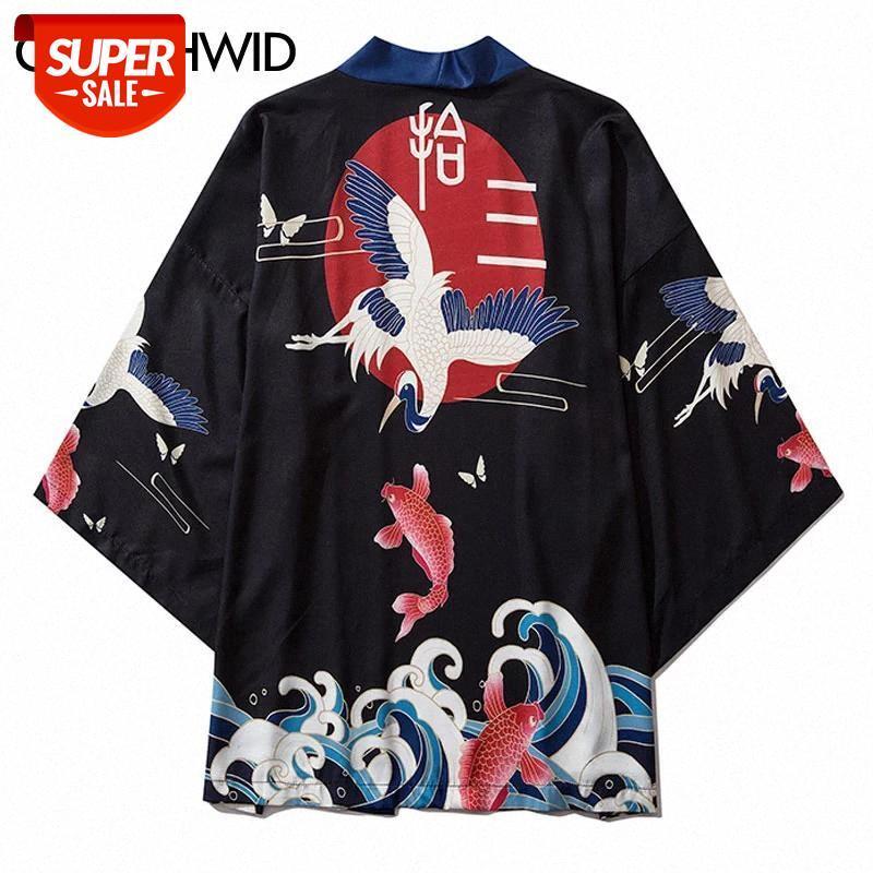 Crane Koi Fish Carpa Impresión Japonesa Kimono Cardigan Chaqueta Abrigos Harajuku Casual Chaquetas sueltas Tops Streetwear Hip Hop # SN5U