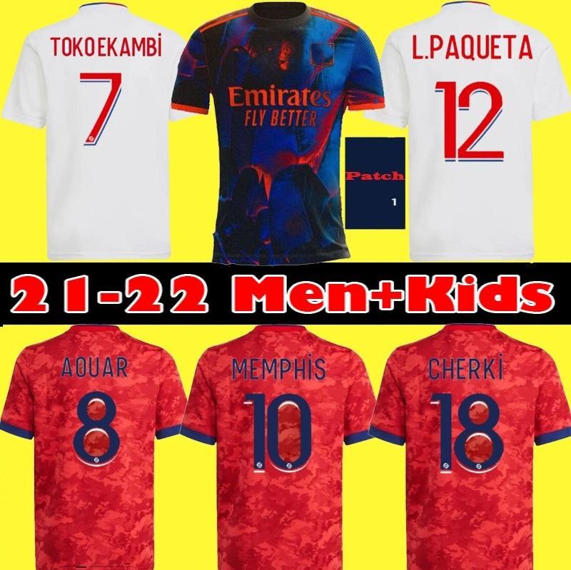 Top 20 21 22 Maillot Lyon 2021 2022 Olympique Lyonnais Camiseta de fútbol OL camisetas de fútbol TRAORE MEMPHIS hombres equipos para niños equipos BRUNO G