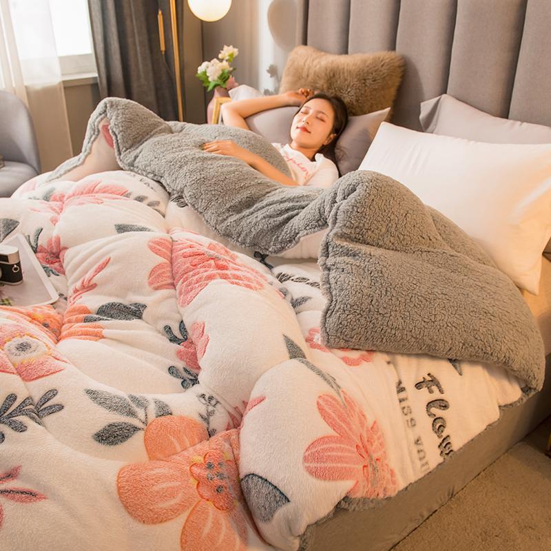 Bettdecken Sets LAMB Doppelgesichts Samt Wolle Quilt Duvet 2/3/4/5 kg Winter Verdicken Deckenkern Extra warme und weiche Doppelkönig-Bettdecke
