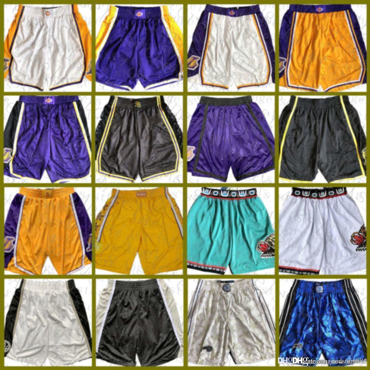 2021 shorts de basquete orlandoMagic San Los MemphisGrizzlies.AngelesLakers.AntonioSpurs Brown