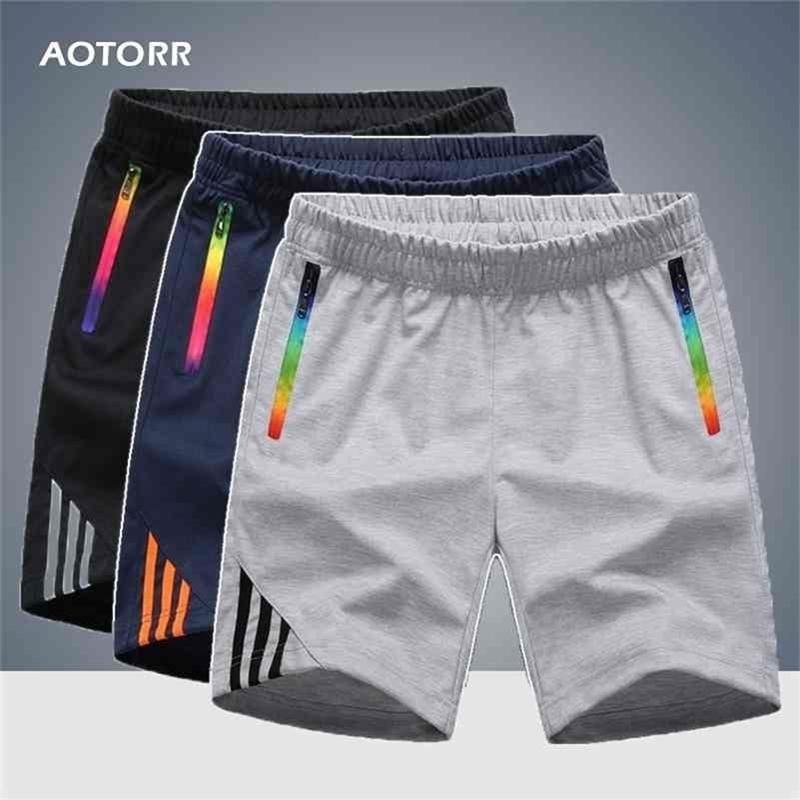 Erkek Şort Yaz Spor Erkekler Fermuar Cep Rahat Konfor Çizgili Küşe Nefes Hızlı Kuru Pantolon Büyük Boy Fitness 210324