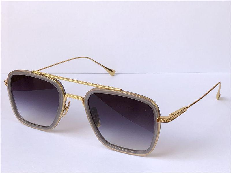 패션 디자인 남자 선글라스 006 스퀘어 프레임 빈티지 스타일 UV 400 보호 야외 안경 케이스