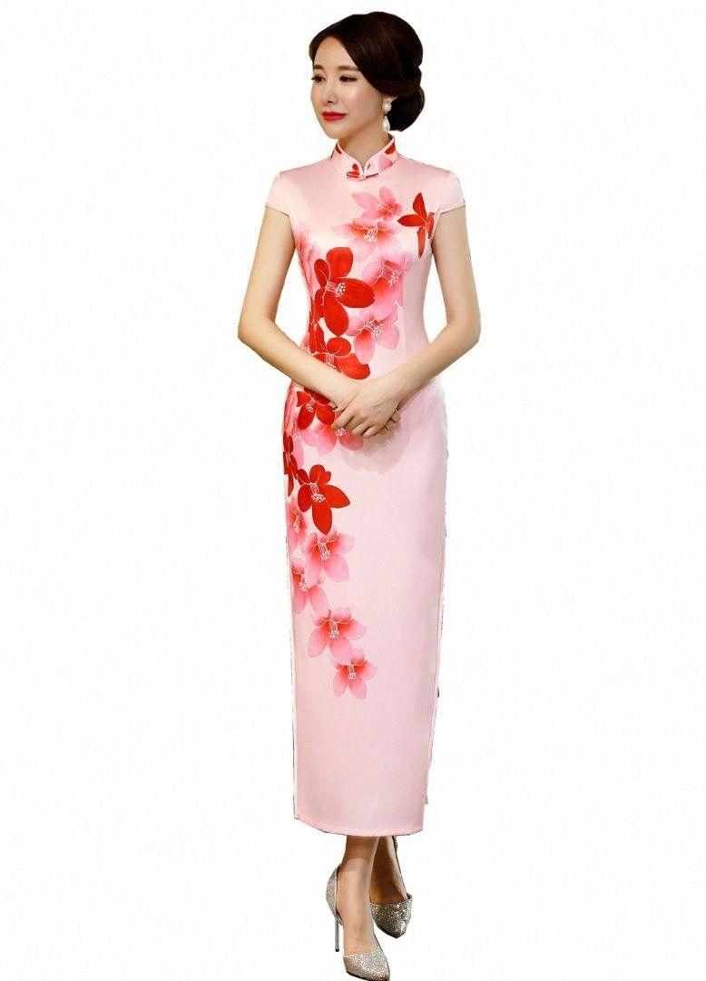 상하이 스토리 2018 새로운 판매 꽃 qipao 긴 중국 드레스 핑크 cheongsam qipao 드레스 i9ms #