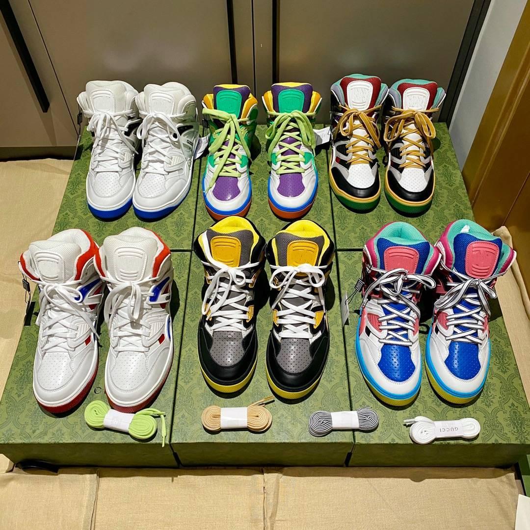 2021 디자이너 Rhyton 스니커즈 베이지 남성 트레이너 빈티지 럭셔리 Chaussures 숙녀 신발 디자이너 스니커즈 상자 크기 35-46 Q1
