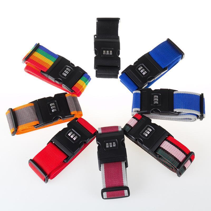 Correa de equipaje Trans Cross Belt Embalaje Ajustable Maleta de viaje Nylon 3 dígitos Cerradura de contraseña Cinturones de equipaje