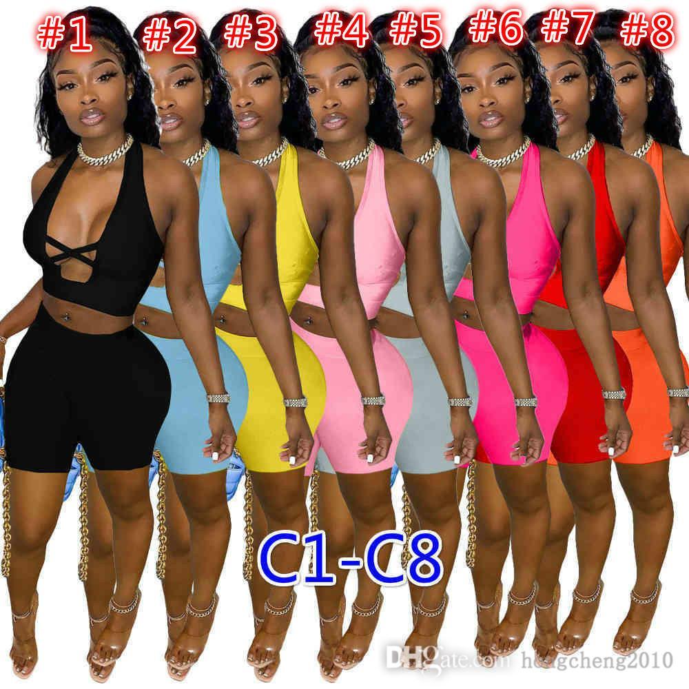2021 Sommer Frauen Trainingsanzüge Solide Farbe Zwei Teile Shorts Set Outfits Sexy Cross Cut Tops Kurze Hosen Jogger Anzüge Damen Casual Kleidung