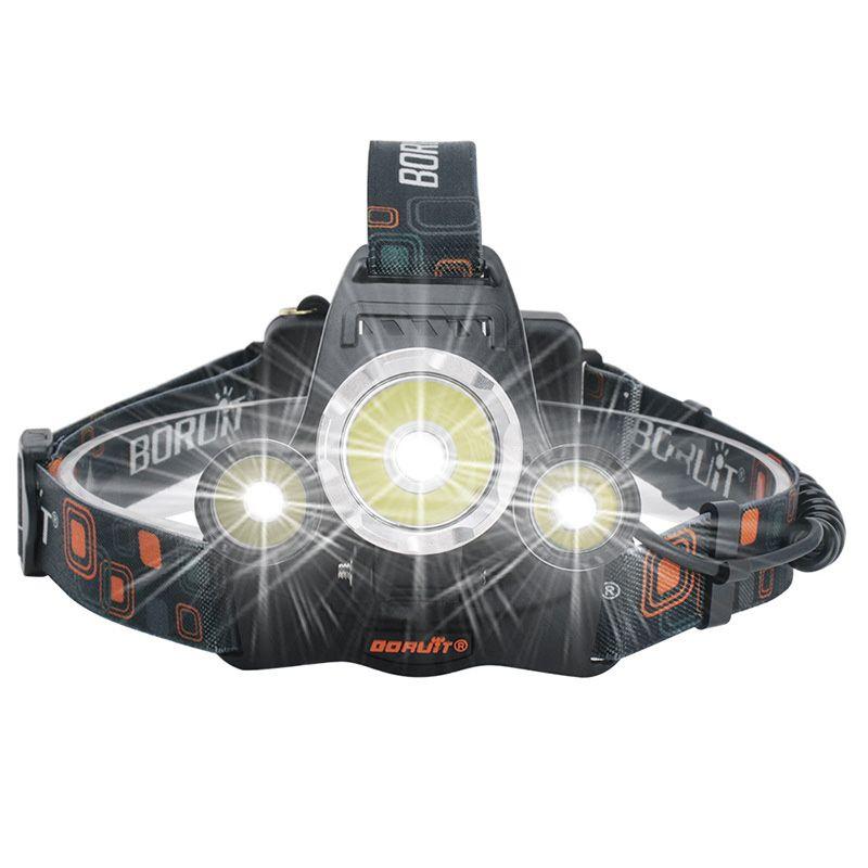 L2 + 2R2 Scheinwerfer 5000 Lumen 3 Köpfe High Power LED-Scheinwerfer Brennerlampe Taschenlampe Head + Charger + Autoladegerät