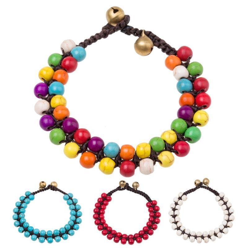 Charme Armbänder Böhmische Frauen handgefertigte Zweireihen Runde Perlenkette Boho Gold Farbe Perlen Armband Ethnische Stiche